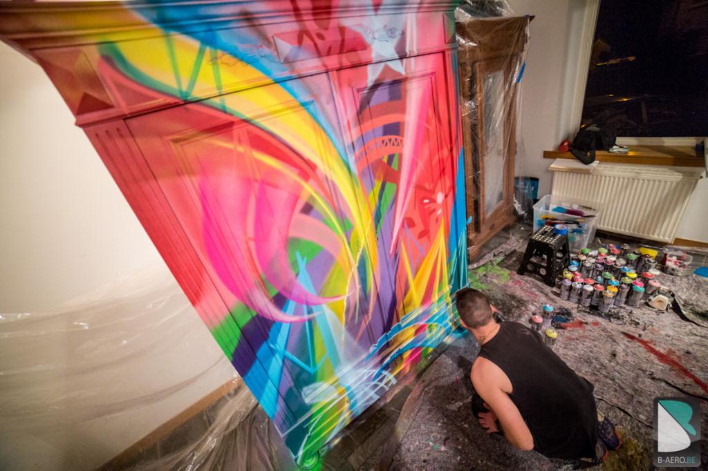 Original Meuble Graffiti sur mesure multicolor