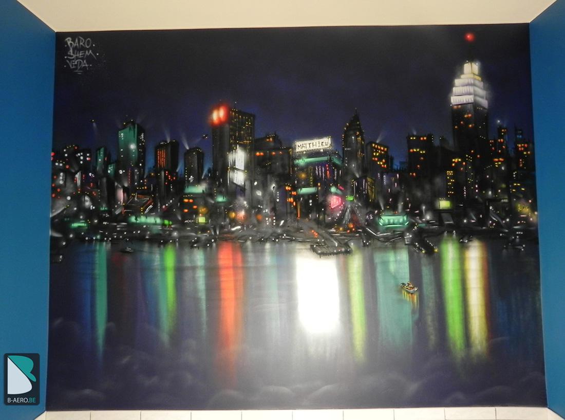 Chambre Sur Le Thème De New York chambre new yorknight - big city light |